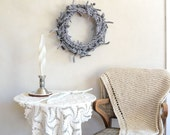 Fluffy Grey Wool Wreath Autumn to Winter Rustic Neutral Decor