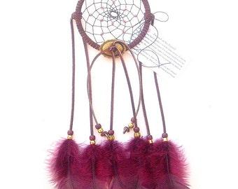 Wine Dream Catcher, Turkey Flat Feathers