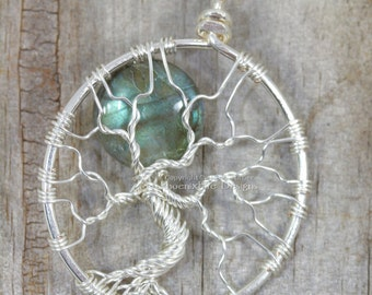 Labradorite Tree of Life Pendant Full Moon Blue Flash Wire Wrapped Jewelry Silver Celestial Necklace Goddess Boho Pagan Ritual Necklace