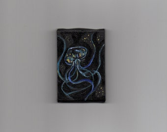 Tiny jellyfish 2 x 3 inch miniature painting acrylic black blue underwater sea creature psychedelic transparent aquatic art