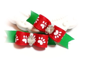 Christmas Dog Bows, Paw Print Dog Bows, Gifts for Pets, Grooming Bows, Dog Bows for Christmas, Red Paw Prints, Pet Hair Bows, Bows for Dogs