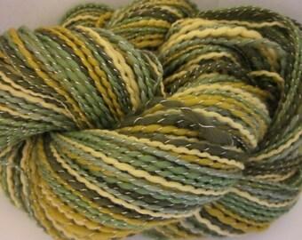 Handspun Merino Silk ART Yarn (Tree Frog) 214 yds 146meters