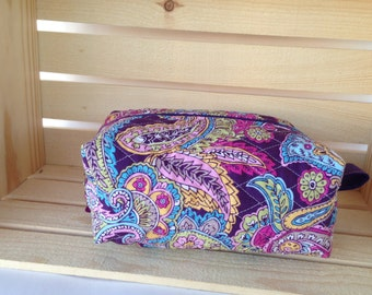 Quiled Knitting Project Bag - Knitting Project Bag - Boxy Knitting Project Bag - Purple Paisley Bag - Boxy Bag- Toiletry Bag