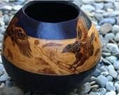 Elijah and the Ravens pyrography Large Gourd Bowl