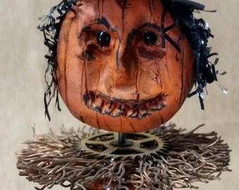 Halloween Hattie Hatfield Pumpkin Folk Art Assemblage OOAK Decoration Jack O Lantern Figurine