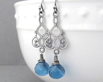 Blue Stone Earrings Sterling Silver Earrings Blue Drop Earrings Long Dangle Earrings Handmade Jewelry Bohemian Jewelry Moroccan Dreams
