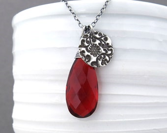 Red Necklace Garnet Necklace Long Silver Necklace Oxblood Red Gemstone Jewelry Long Necklace Modern Silver Necklace Handmade Pendant Solo