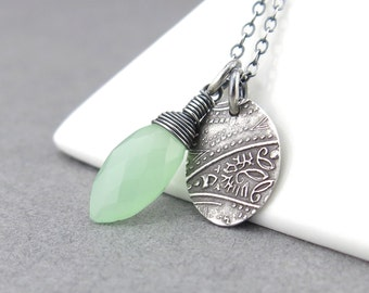 Green Chalcedony Necklace Green Necklace Silver Charm Necklace Silver Necklace Gemstone Jewelry Bohemian Jewelry Charm Jewelry - Solo