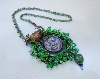 Forest Nymph or Grass Gnome? Bead Woven Necklace – EBWC July 2016 challenge submission