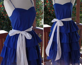 ROYAL Blue 1980's Vintage Tiered Ruffled Party Dress with White Bow // by Joni Blair // size Small XS