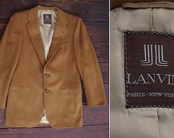 Brown Sugar 1970's 80's Vintage Tan Light Brown CAMEL HAIR Blazer Jacket // by LANVIN Paris New York // size Medium