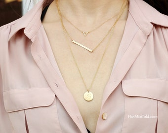 Gold Layering Necklace, Tiny Triangle Necklace, CZ Diamond Jewelry, Long Bar Necklace, Initial Pendant Necklace, Silver Layered Necklace