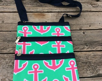 Anchor Messenger Bag - Mini Ipod Case- Tablet Case- Cross Body Bag Includes Personalized Name or Monogram