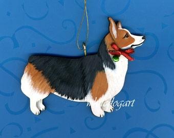 Handpainted Tri Corgi Christmas Ornament