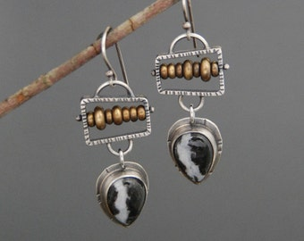 Abacus earrings with Zebra Stone