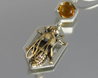 HONEY BEE silver & bronze pendant with amber and white sapphires