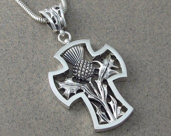 THISTLE CROSS silver pendant