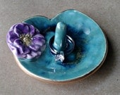Ceramic Wedding Ring Holder Dish Purple Water Lily  edged in gold
