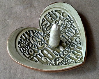 Valentines Day Ceramic Ring Holder Bowl  Heart Sage Green gold edged LOVE 3 1/4 inches wedding ring holder