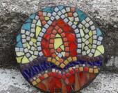 Yoga Inspired Sunrise Stained Glass Mosaic