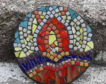 Yoga Inspired Sunrise Stained Glass Mosaic