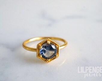 6mm gold hexagon ring. OCEAN GRAY QUARTZ gemstone gold ring. grey gemstone geometric ring. gold vermeil hexagon
