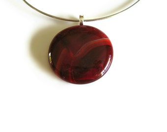 Red Glass Pendant, Minimalist Jewelry, Pendant Necklace, Red Pendant, Glass Jewelry, Women Necklace, Round Pendant, Cute Necklace