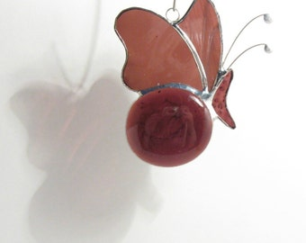 Aubergine Butterfly, Butterfly Mobile, Butterfly Decorative, Purple Glass, Window Ornament, Abstract Butterfly, Butterfly Suncatcher