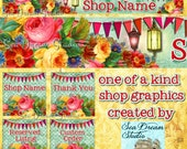 Vintage Roses and pennants floral Etsy shop Banner graphics set by Sea Dream Studio  OOAK