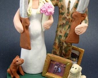 Shotgun Wedding Cake Topper, Hunters Wedding Cake Topper, Redneck Wedding Cake Topper, Camouflage Groom Wedding Cake Topper, Shotgun Bride