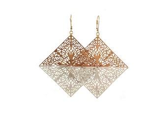 White and Gold Diamond Filigree Dangle Earrings
