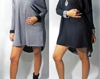 Reversible High Low Off Shoulder Top/Dress - Black/Grey-  OSFM