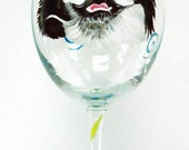 Pet Portrait Wine Glass -  Cat dog personalized hand painted glass