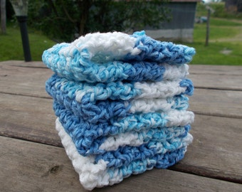 Crochet Dishcloth/ Washcloth - Handmade Wash Rag -Set of 4 Kitchen Dish Cloths-The Sailor Stack Color