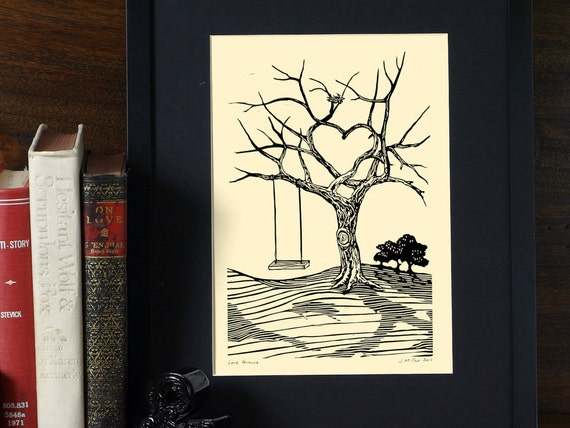 Love Grows - 6x9 Valentines  Letterpress Linocut