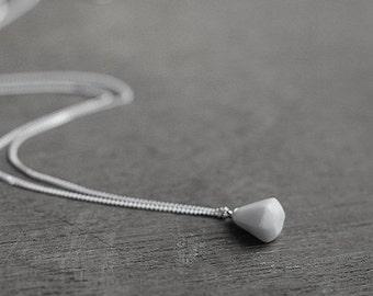 White diamond necklace, Ceramic necklace Minimalist necklace White necklace Silver necklace White porcelain Birthday gift-boohua