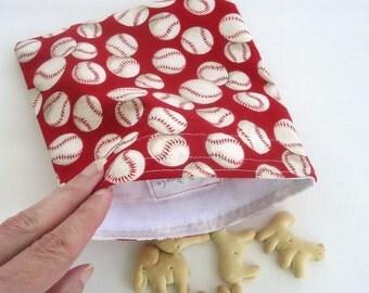 Reusable Snack Bag, Sandwich Bag, Zero Waste Lunch Bag with Baseballs, Boy's lunch bag, Kid's lunch