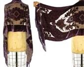 90s Burnout Silk Velvet Scarf / Vintage 1990s Floral Cut & Fringed Velvet Shawl / Reversible Amethyst Flapper Scarf / Art Nouveau Scarf