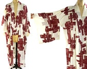 1960s Cotton Kimono / Vintage Abstract Woodblock Pattern Duster or House Coat