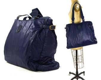 80s Blue Nylon Tote Bag / Vintage 1980s Large Vegan Purse or Book Bag / Multi Pocket Lightweight School Bag / Club Kid Raver Hipster