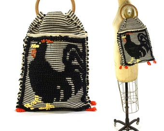 50s Woven Tapestry Bag / Vintage 1950s Handwoven Chicken Purse with Wooden Handle / Bohemian Hippie Knitting Bag / Large Rooster Handbag
