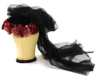 Merry Widow Hat / Vintage Black Velvet Bonnet with Black Veil & Fabric Flowers