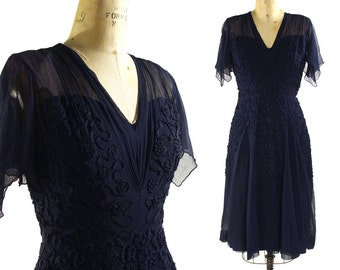 1950s Silk Chiffon Cocktail Dress in Navy Blue