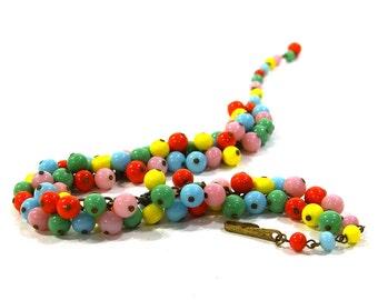 1930s Glass Necklace / Vintage Colorful Beaded Bubblegum Charm Necklace