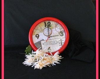 Photo Clock, Travelers Clock, Explorers Clock, Christmas Gift, Gift For Him, Office Decor
