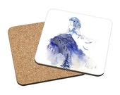 Coasters Mix & Match - Jazz -  winter princess fashion sketch baby blue mountain lady watercolor painting Oladesign