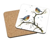 Coasters Mix & Match - Warm Inside - English robins cute blue love birds red breasted robin winter watercolor painting Oladesign