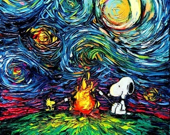 Snoopy Art - Peanuts Cartoon Starry Night print van Gogh Never Roasted Marshmallows by Aja 5x5, 8x8, 10x10, 12x12, 20x20, and 24x24 inches