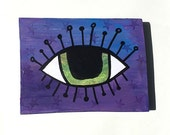 Green Evil Eye On Purple - Original Mixed Media Collage Painting, wall hanging, luck, lucky wall art decor  by Claudine Intner