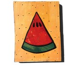 Watermelon Slice - Original Mixed Media Collage Painting - kitchen art, fruit, food art, wall decor, red green - Claudine Intner